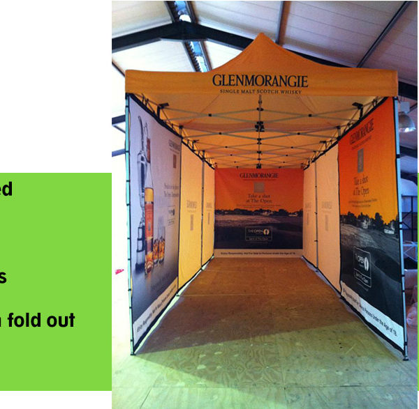 Branded Gazebo with full height walls create a hallway effect