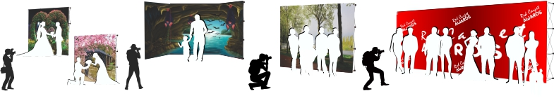 We Print Custom Photography backdrops for photo shoots, events and photo ops. Interchangeable, washable and iron friendly. Add more banner walls to create a horizon or enclosed scene.