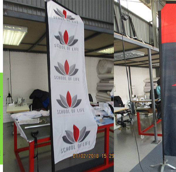 Custom Telescopic flags - cross-base for Indoor use