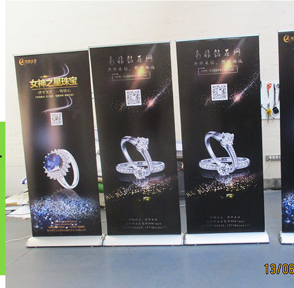 Our pull up banners include the aluminium rail, pole and padded bag for quick setup and transport
