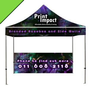 Branded Popup Gazebos with choice of half and full size gazebo walls. Phone to find out more.