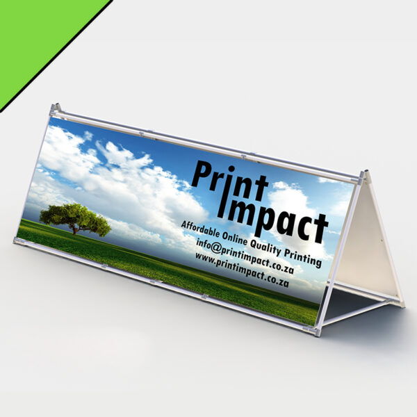 The A Frame Banner allows for double sided visibility.