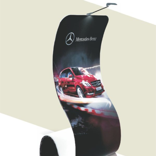 Single or Double-sided print on the Brandcusi S-Shape Stand that uses a Tension Fabric System