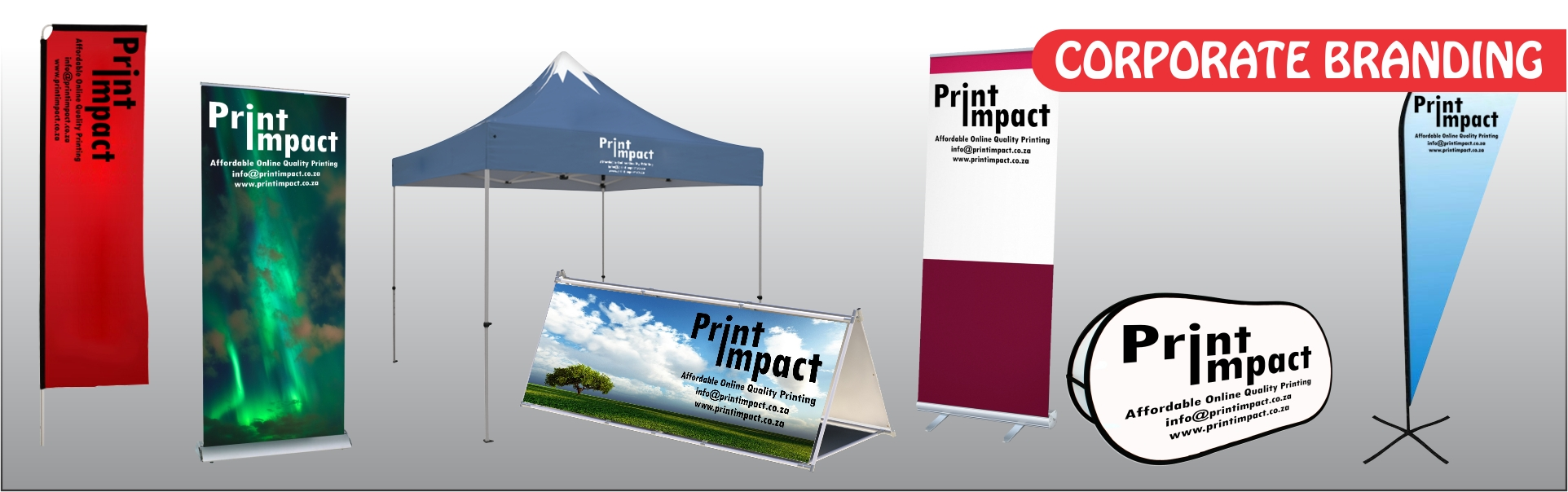 Corporate Branding is our speciality! Custom size Banners, Gazebos and much more