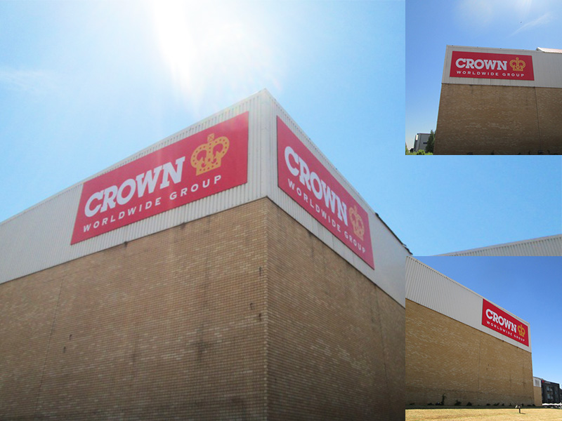 Building Signage and installation - Crown Worldwide Group sign