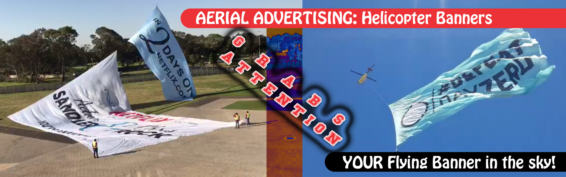 Print Impact | Aerial Advertising - Helicopter Banner in the sky