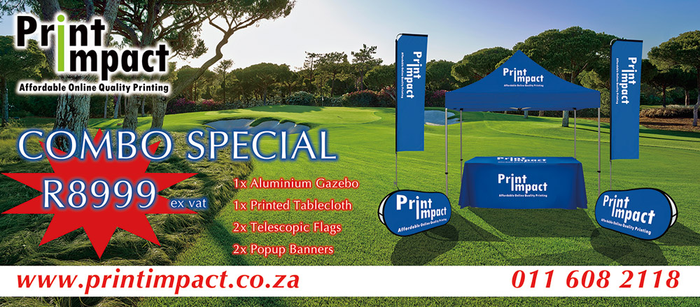 Branding Combo Special - gazebo, tablecloth, telescopic flags and pop up banners