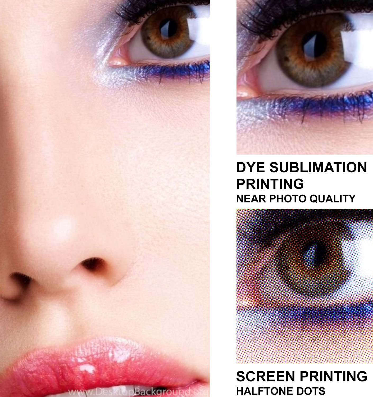 Dye Sublimation Printing is near photo quality - versus Screen Printing with halftone dots
