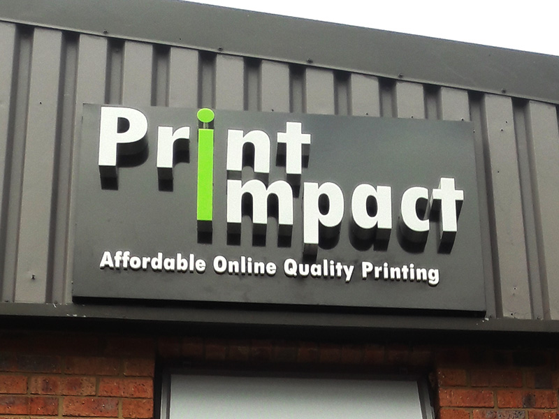 Print Impact's Building Sign done in 3d letters and lights up at night