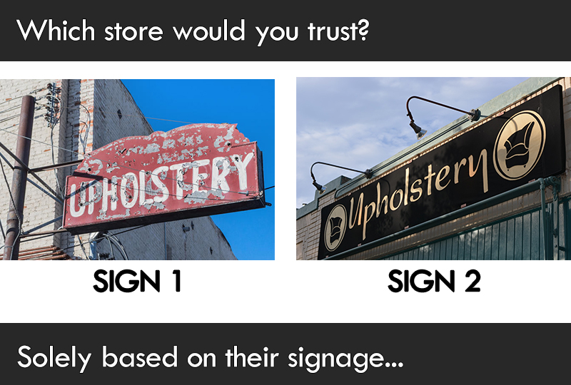 Print Impact asks - Which sign would attract you to walk into their store?