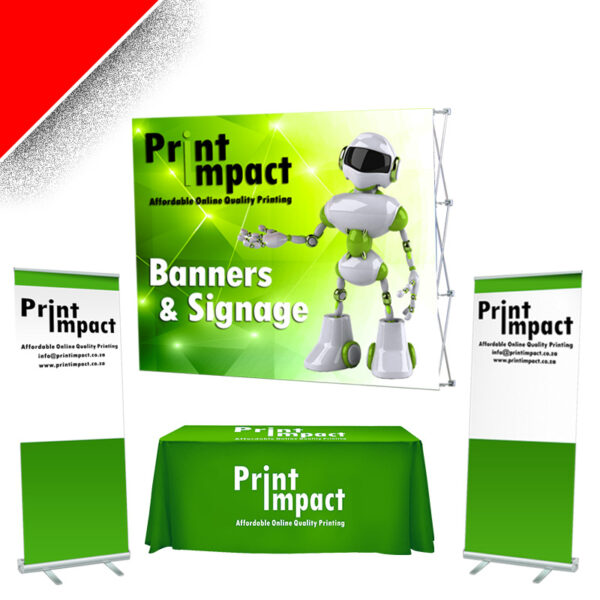 Print Impact - Combo Special 2 - Banner Wall, 2 Roller Banners (Eco), Table and Branded Tablecloth