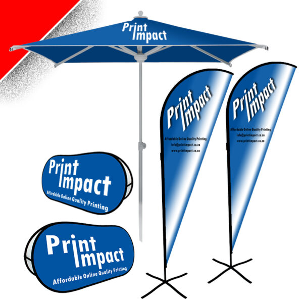 COMBO3 - Branded Promo Items on Special. Branded Parasol Umbrella, 2 Popup Banners, 2 Sharkin Flags (3m)