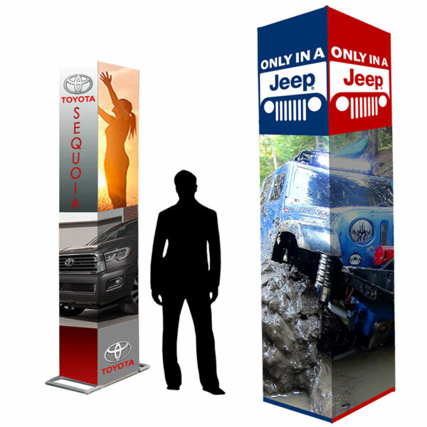The Branded Pillar Stands are neat and eye-catching branded pillars that are easy to setup and arrange.