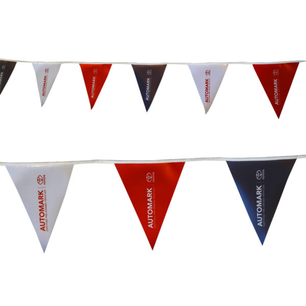 Bunting Flags attract attention at Car Dealerships or Second Hand Car Sales Stores. Colours are striking and full colour prints available in single sided and double sided.